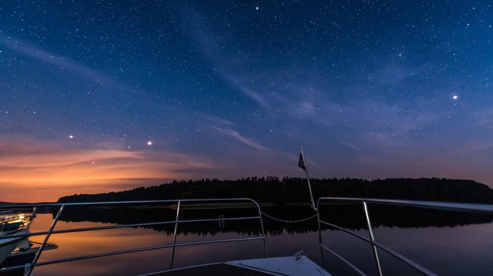 From the houseboat on the search for the Milky Way in Mecklenburg Lake District, © Achim Meurer